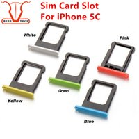 Wholesale Tray Pink - Sim Card Tray Slot Holder Replacement for Apple iPhone 5C Colorful Card Slot for Cover iphone 5C Accessories White Pink Green Yellow Blue