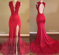 Wholesale Cheap Purple Silk Dresses - Red Sexy Plunging V Neck Mermaid Prom Dresses 2017 New Arrival Lace Appliqued Sequins High Split Evening Gowns Sexy Open Back Cheap Long