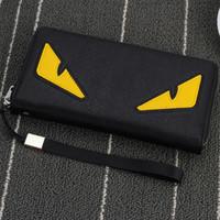 fermuarlı telefonlar toptan satış-Toptan-2016 Yeni marka erkek cüzdan fermuar uzun telefon debriyaj çanta moda yüksek kalite garantisi gözler çanta debriyaj cüzdan ücretsiz kargo