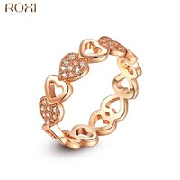Wholesale simple ring designs for women - ROXI Rings for Women Gold Color Classic Simple Design Ring Heart Solitaire Zirconia Womens Elegant Loving Wedding Party anillos