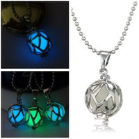 Wholesale Crystal Football Charms - Brand new Hollow can open luminous football pendant night pearl necklace jewelry WFN143 (with chain) mix order 20 pieces a lot