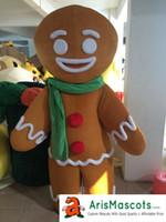 lustige erwachsene männer kostüme großhandel-Lustige Maskottchenkostüme der erwachsenen Größe niedlicher Lebkuchen-Mann-Maskottchenkostüm-Karikatur Charakter-Maskottchen-Abendkleid-Kostüme Karnevalspartykleid