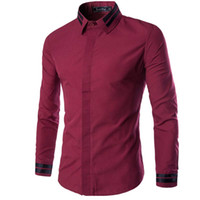 Wholesale Casual Button Men Shirts Wholesale - Wholesale- New Wine Red Men Shirt Chemise Homme 2016 Fashion Mens Covered Button Slim Fit Long Sleeve Shirts Casual Solid Color Dress Shirt