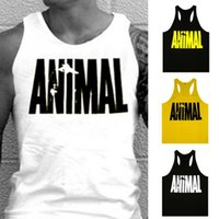 Wholesale Sexy Clothes For Men - Wholesale- Newest Design ANIMAL Word Pattern Men Tank Top for Bodybuilding Clothing Fashion sleeveless Shirt Tops