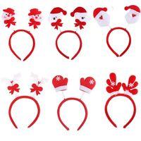 Wholesale Rabbit Supplies Wholesalers - Lovely Snowman Santa Claus Bear Elk Pattern Head Fancy Bands Hair Hoop Christmas Decoration Supplies For XMAS Party