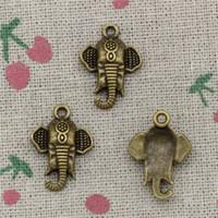 Wholesale Elephant Heads - 80pcs Charms elephant head 22*16mm Antique Bronze Pendant Zinc Alloy Jewelry DIY Hand Made Bracelet Necklace Fitting