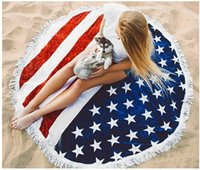 Wholesale Patterned Bath Mats - Round Quadrate American Flag Pattern Beach Beach Towel Bikini Cover Bohemian Beachwear Beach Sarongs Shawl Bath Towel Yoga Mat