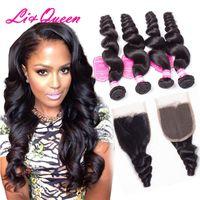 Wholesale Cheap Extensions Black - Brazilian Loose Wave Virgin Hair Bundles With Closure Cheap Hair Extensions Loose Wave Closure Free Middle Three Part Natural Black