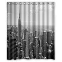 Wholesale New York Shower - Customs 36 48 60 66 72 80 (W) x 72 (H) Inch Shower Curtain New York Black White Wallpaper Polyester Fabric Bath Curtain