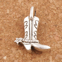 Wholesale Star Cowboy - Star Cowboy Boots Shoes Charm Beads 150pcs lot Antique Silver Pendants Jewelry DIY L390 17.2x13mm