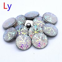 Wholesale European Bead Earrings Wholesale - Interchangeable 18mm Cabochon Resin Snaps Holiday Snowflake Ginger Snap Button for Noosa Snap Jewelry Bracelet Necklace Ring Earrings NR0151
