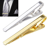 Wholesale Gold Tie Clips For Men - 2015 Fashion Metal Silver Gold Simple Necktie Tie Bar Clasp Clip Clamp Pin for men gift 6X8L