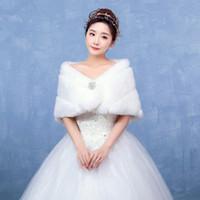 Wholesale White Real Fur Wrap - Real Picture In Stock White Color Faux Fur Wedding Jacket Warm Bridal Shawl Bolero Wedding Wrap