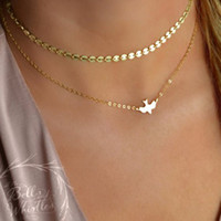 Wholesale Wholesale Peace Jewelry - Silver Gold Double layer Peace Pigeon Necklace Multilayer Chain Choker Necklace Collars Fashion Jewelry Women Christmas Gift Drop Shiping