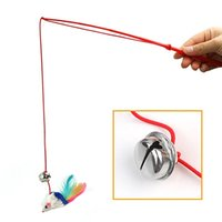 Grossiste-Nouveau Pet Cat Bell Le Dangle Faux Souris Plume Rod Roped Funny Fun Jouer Jouets