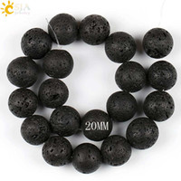 Wholesale Loose Beads For Sale - CSJA 20mm Biggest Size Women Men Necklace Bracelet Jewelry Stone Loose Beads for Sale Round Reiki Lava Volcano Rock Natural Gemstone E193 I