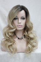 Wholesale Hivision Monofilament Side Part Heat ok Ombre Brown Blonde Long Curly Women Wig