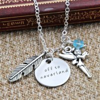 Wholesale Chirstmas Elves Wholesale - 12pcs lot Peter Pan Inspired Off to neverland necklace blue crystals feather elf charm Never land silver tone
