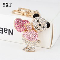 Wholesale Love Sweet Bear - Lovely Bear Sweet Love Heart Charm New Cute Crystal Pendant Purse HandBag Key Ring Chain Party Favorite Accessories Gift