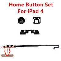 Wholesale Circuits Board - 4-In-1 Hone Button Set Key Menu Buttons Cap Home Button Circuit Board Flex Cable for iPad 4 4th Replacement DHL Free Shipping