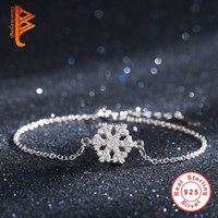 Wholesale Trinket Accessories - BELAWANG Winter Crystal Bracelets Accessories for Women Fashion 925 Sterling Silver Charm Snowflake Bracelets Trinket Gifts for Christmas