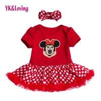 Wholesale Tutu Rompers For Girls - Baby Girl Lace Red Rompers Dress Short Sleeve Cotton Tutu Wedding Dress Vestido Infantil For Girl Clothes Summer 2017 Infant Kids Clothing