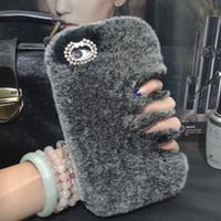 Wholesale Elegant Hair Bows - Lady Warm Luxury Rex Rabbit Hair Fur plush Soft leather shell case for iphone 7 7plus 6 6s plus 5 5s SE bow Diamond elegant case