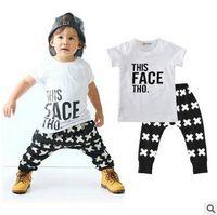 Wholesale Little Black Boys - New Arrival Kids T-shirt+Pants Two-Piece Suit Boy Children's Cotton Clothing Sets Little Boy's White T-shirt Black Pants Sets Free Shipping
