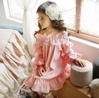 Wholesale Korean Ball Gowns - Girls Korean Lace Tutu Dress Kids Clothing 2017 Autumn Winter Print Cotton Dress Fashion Long Sleeve Princess Dress YAN-215