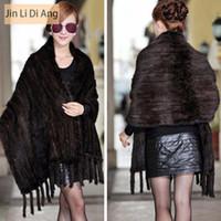 Wholesale Real Fur Scarfs - Wholesale- Jin Li Di Ang 2016 Fashion Women Soft Real Mink Fur Shawls Lady Knitted Designer Female Shawls Fur Shawl Wrap With Tassel