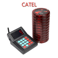 Wholesale Restaurant Pagers - Catel Wireless restaurant coaster pagers paging system with 10 pagers one keypad transmitter and one charger base red blue black color