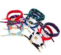 Wholesale Mexican Braided Bracelets - 100 colors Mixed style RastaClat California shoelace bracelet 16cm high quality sports bracelet DIY Braided bracelet DHL shipping