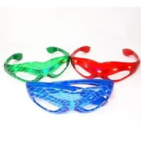 Wholesale Wholesale Spiderman Glasses Light Up - Halloween Gift LED Spiderman Glasses LED Flashing Glasses Dance Party Spark Cosplay Slotted Shutter sl slo up Shades Spider-man Mask lights