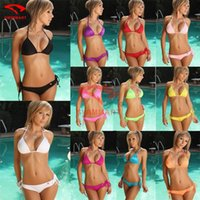 Wholesale Cheap Triangle Swimsuit - New bikini Sexy 400pcs=200set women swimsuits Sexy Swimsuit lady Triangle bikini Sexy Bandage CHEAP 400pcs