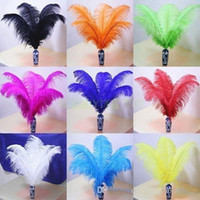 Wholesale Turquoise Blue Black Wedding - 14-16Inch White black red light pink hot pink royal blue turquoise orange purple Ostrich Feather Plumes for Wedding party centerpiece decor