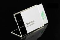 sostenedores de la muestra de la tabla al por mayor-10 unids Acrílico T1.3mm Plástico Transparente Tabla Signo Etiqueta de Precio Etiqueta de Papel Promoción Titulares de Tarjeta L Nombre de la Forma de la tarjeta del escritorio del escritorio Stands