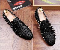 Wholesale Trendsetter Shoes - 2017 New style Fashion Trendsetter Men's Studded Rivet Spike Loafers Homecoming Dress Shoes Italy Male Party Wedding Shoes size:6.5-9 GX23
