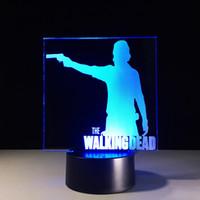 Wholesale Walking Dead Christmas - Rick Walking Dead 3D Optical Illusion Lamp Night Light 7 RGB Lights DC 5V USB Charging AA Battery Dropshipping Free Shipping