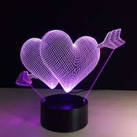 Wholesale free christmas trees - 2017 Cupid's Arrow Love Arrow 3D Optical Illusion Lamp Night Light DC 5V USB Charging AA Battery Dropshipping Free Shipping