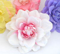 Wholesale Artificial Dahlias Flower Heads - Festive Party Supplies Decorative Flowers Wreaths 30 PIECES lot Artificial Dahlia Silk Flower Heads for Wedding Headband Corsage Brooch B72