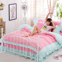 Wholesale Luxury Red Comforters - Wholesale-100% Cotton Comforter Luxury Bedding sets 4pcs set Bedspread bedclothes For Kids Girl Lady with Bed sheet Duvet cover Pillowcase