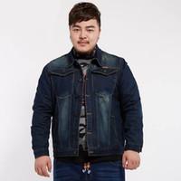 "Wholesale Men S Large Jackets - Wholesale- 2017 Spring Large Size men ""s Jacket 7XL Large Size Denim Jacket Men"" s long Sleeve Lapel Casual Jacket Fashion Loose MK567"