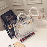 Wholesale Transparent Shoulder Candy Handbags - Fashion Women's Summer Jelly Candy Clear Transparent Handbag Pillow Shape Tote Purse Shoulder Beach Bag 9 Colors