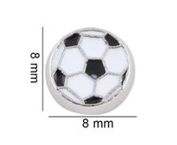 Wholesale Sport Ball Jewelry - 20PCS lot Floating Locket Charms Sport Soccer Ball Fit For Glass Magnetic Locket Jewelry Making