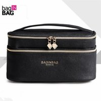 Wholesale Double Make Up Bag - Fashion Double Layer Brand Cosmetic Bag Cross Pu Leather Multifunctional Make Up Bag Organizer Makeup Pouch Toiletry Bag Neceser