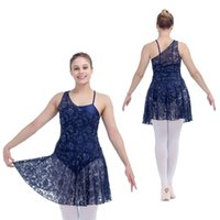 Wholesale Girl Dress Lace Overlay - Nylon Lycra Camisole Leotard with Lace Overlay Dance Dress Girls Ballet Dancewear Ladies Dancing Skirts Full Sizes 11 Colors Available