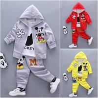 Wholesale Hooded T Shirt Pants - 3pcs kids baby boy Girl Mickey coat+T shirt+pants Outfits&set boy autumn clothes