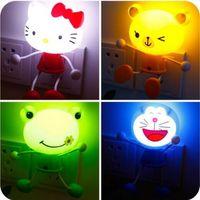 ingrosso luci di notte panda-LED Lights Sensor Control Baby Cartoon LED Night Light Bambini Panda Bear Novità Lampada per illuminazione Kids Room LED spina americana