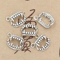 Wholesale Silver Tooth Bracelet - Wholesale-99Cents 12pcs Charms vampire dracula fangs teeth 17*12mm Antique Making pendant fit,Vintage Tibetan Silver,DIY bracelet necklace