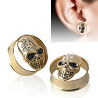 Wholesale Foreign trade sales skull ear expansion stainless steel vacuum set auger auricle Stud earrings puncture accessories